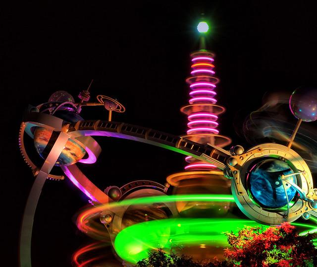 The Wonderful World Of Nik E April 2009: Disney - Rocket Tower Plaza At Night (Explored)