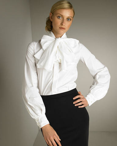 Womens White Bow Tie Blouse 67