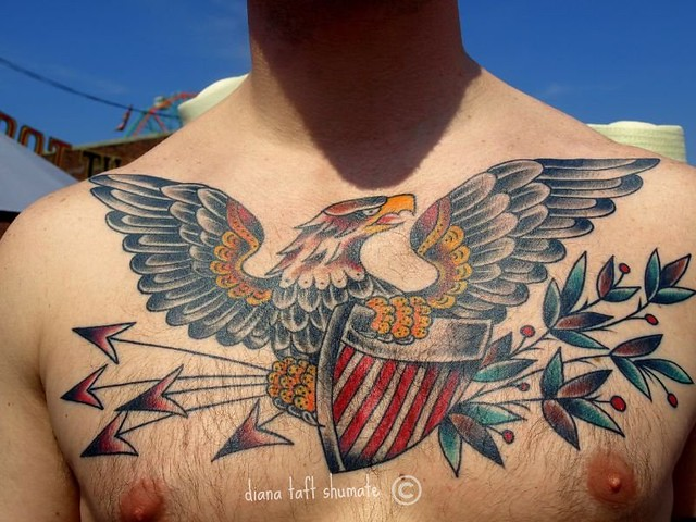 Eagle shield chest tattoo by berkhardt at top shelf in for Top shelf tattoos