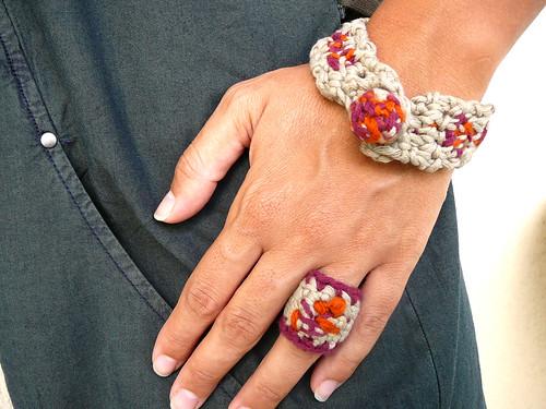 natural fiber bracelet and ring by atolye afra