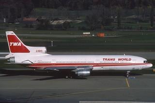 TWA Lockheed L-1011 TriStar 100; N31030@ZRH, October 1984