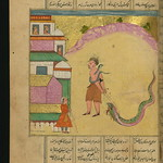Illuminated Manuscript, Collection of poems (masnavi), A snake charmer and a sleeping dragon on his way to Baghdad, Walters Art Museum Ms. W.626, fol. 114a