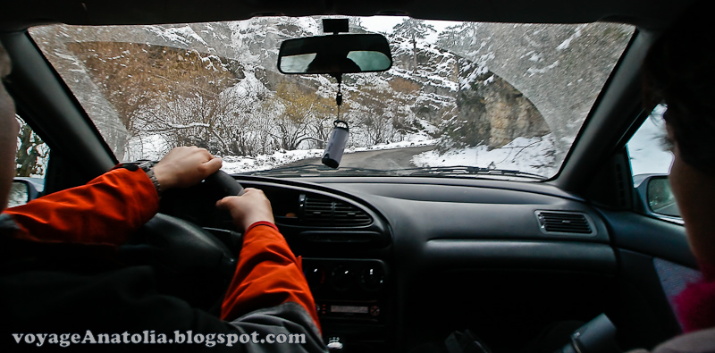 Driving at Snowy Bolu Mountain Ways