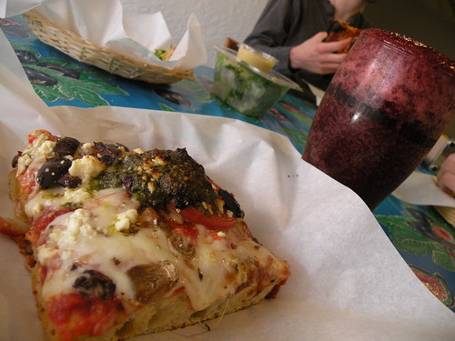 vegetarian sicilian and blackberry soda
