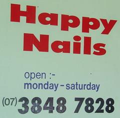 Happy Nails sign, Ipswich Rd, Annerley Junction, Brisbane, Queensland, Australia 090617
