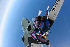 adventure, tandem skydiving, air sports, sports, parachuting, extreme sport, blue,