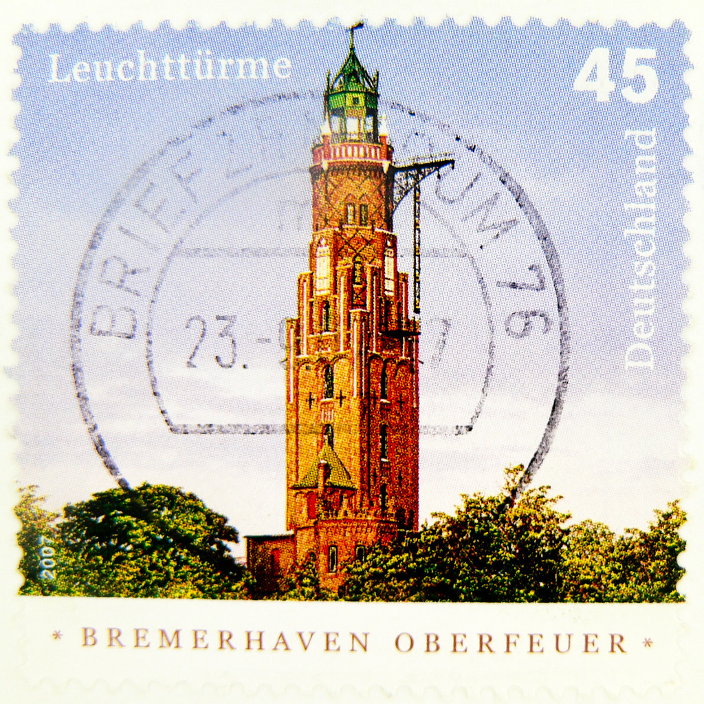 stamp Germany 45c Bremerhaven Oberfeuer lighthouse Leuchtturm 45c Deutschland germany stamp timbre Allemagne selo francobollo sellos Alemanha
