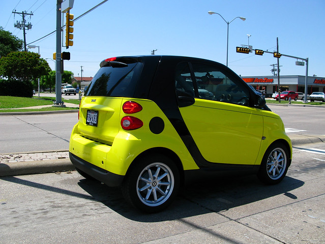 yellow smart car mini car flickr photo sharing. Black Bedroom Furniture Sets. Home Design Ideas