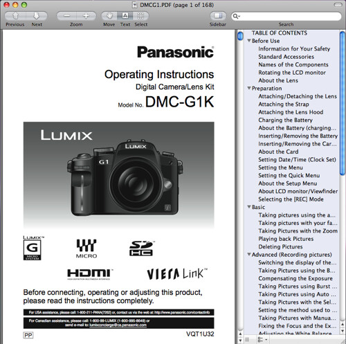 Panasonic G1 operating instructions / manual / user guide