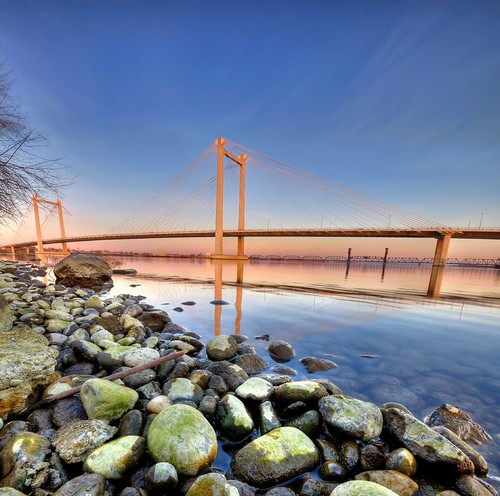 bridge blue sunset sky water river washington cable wa 1020mm hdr kennewick nikond90 tricitiespasco
