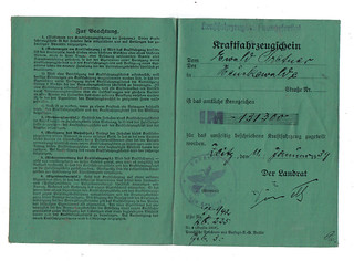 GERMANY 1939 LICENSE TO DRIVE, MOTORCYCLE Side 1