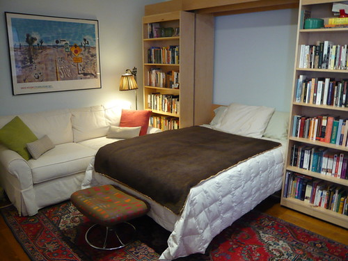 sliding bookcase Murphy bed 2 | From Apartment therapy | Flickr