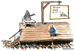 Color cartoon with a hangman showing a PowerPoint presentation to the hangee.