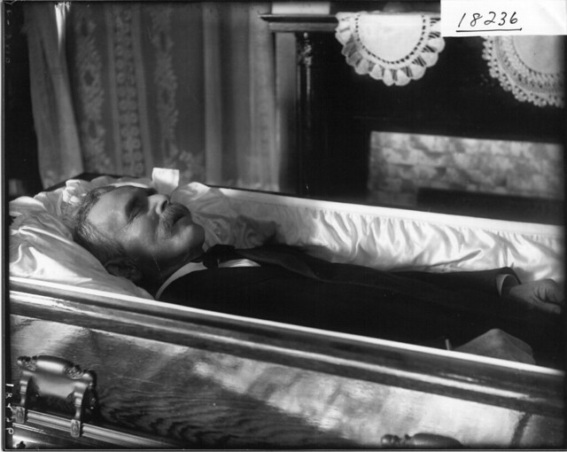 Close-up of unidentified man in casket n.d.