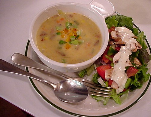 3 cheese & chiles vegetable soup with salad