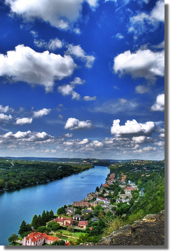 trees sky clouds austin river high colorado texas tx jetski hdr height picnik lakeaustin mtbonnell highestpoint greatsky keepaustinbeautiful nikond60 rivercolorado astuteaustin