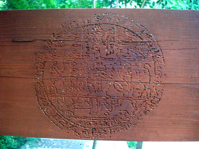 hypocephalus on wooden beam, south campus, byu