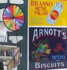 Old Advertising Signs, next to Annerley Community Bookshop, Ipswich Rd, Annerley Junction, Brisbane, Queensland, Australia 090617-1