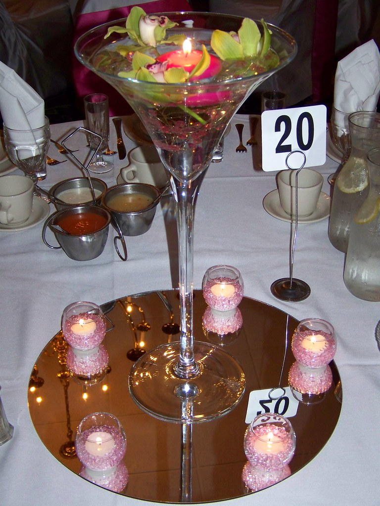 Martini glass centerpiece a photo on flickriver for Fish centerpieces wedding receptions