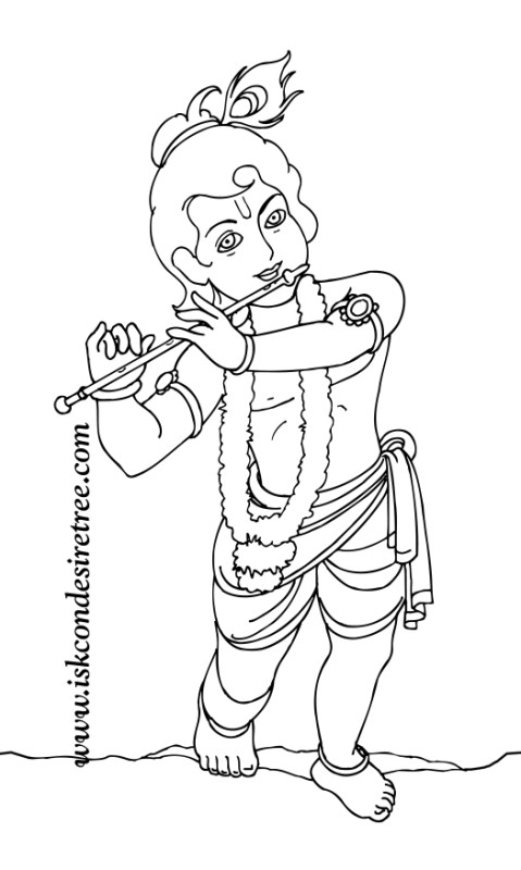 Colouring krishna poster iskcon desire tree 074 a photo for Krishna coloring pages