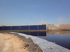 Leachate containment pond at Pulau Burung Landfill