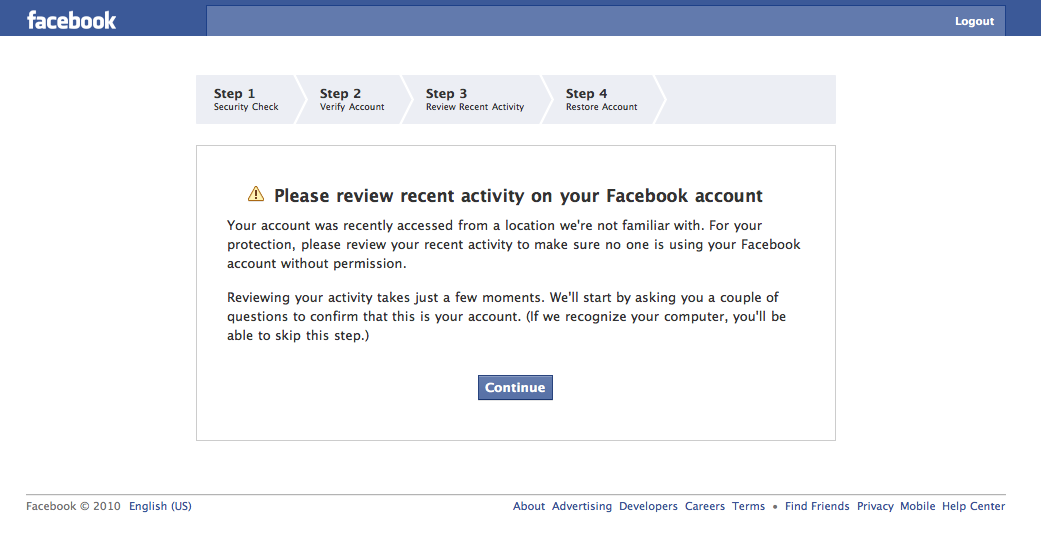 Facebook | Please review recent activity on your Facebook account ...