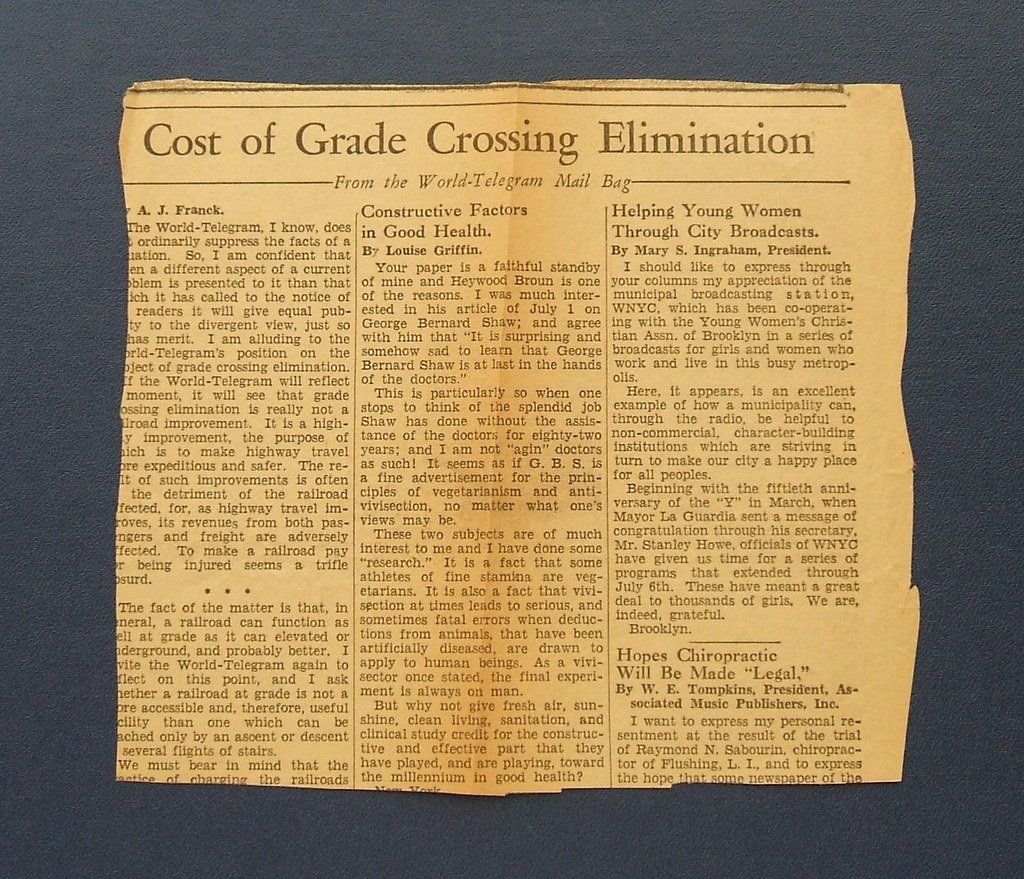 A Newspaper Cutting, Verso, found in Hesse's Ecological Animal Geography