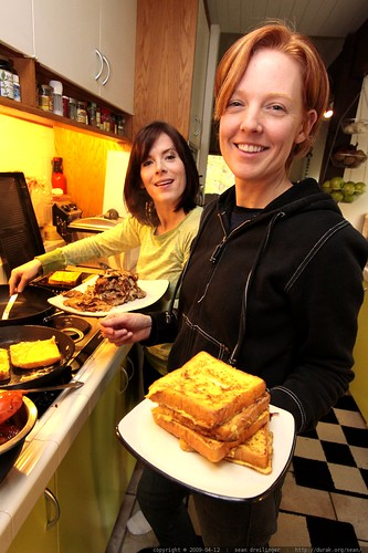 kat with french toast, juls with hash browns