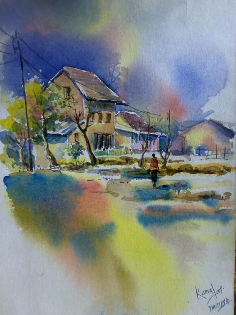 Nepal Watercolor Landscape Painting By Kamal Gurung