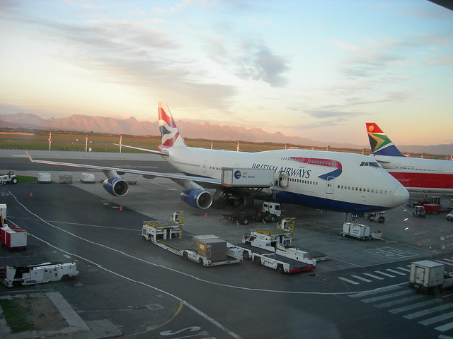 British Airways' B747-400 at Cape Town