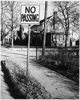 No Passing Sign, Old Mystic Street, Dutch Colonial Home in Background