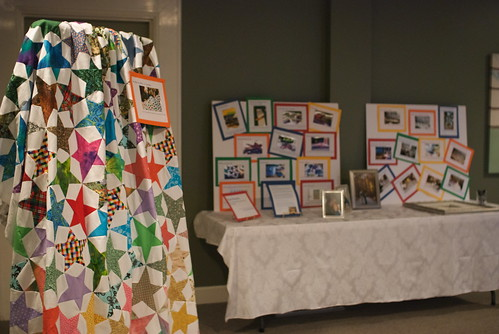 'Star stories,' plus many of the photos in the set explaining how the quilt came to be, were all exhibited at Lexie & Steve's wedding reception.