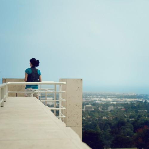 blue trees summer sky art girl wall la los view angeles ledge getty louisarmstrong whatawonderfulworld
