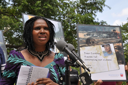 Emem Okon Speakling at the True Cost of Chevron Press Conference (photo: rainforestactionnetwork, flickr)
