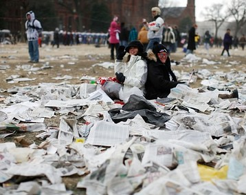 The mess on the National Mall after the Inauguration of Barack Obama