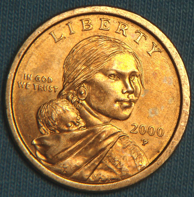 Sacagawea Gold Dollar Obverse 2000 | They are colored gold ...