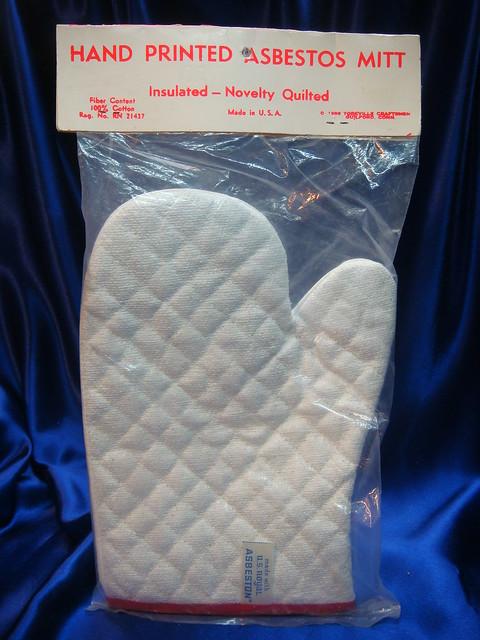 Asbestos Hot Mitt Label with ASBESTON