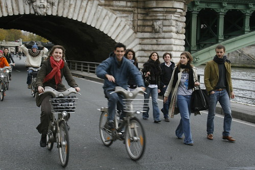 people on bikes on carfree seine