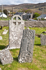 Ancient crosses in the graveyard, Parish Church of Glencolmkille, Co Donegal