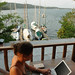 Digital Nomad, Audrey on Laptop - Rio Dulce, Guatemala