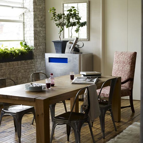 Rustic Eclectic Living Room: Rustic, Eclectic Dining Room: Hardwood + Brick + Metal + W