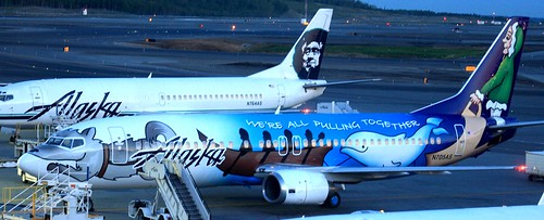 Alaska Airlines 737 with a special paint job - taken at 5 a.m. on an Alaskan morning
