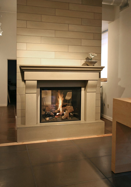 Cornice portabello cast concrete fireplace mantel with for Concrete mantels and hearths