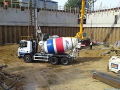 asphalt(0.0), pumping station(0.0), machine(1.0), vehicle(1.0), concrete mixer(1.0), construction equipment(1.0), construction(1.0),