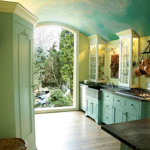 Beautiful sky blue kitchen + painted cabinets + soft green walls  a