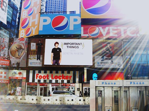Important Things with Demetri Martin Billboard in Times Square, Manhattan, New York City, West 45th Street and 7th Avenue
