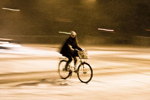 Montando en bici en invierno en Copenhague