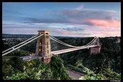 Bristol's Clifton suspension bridge at dusk