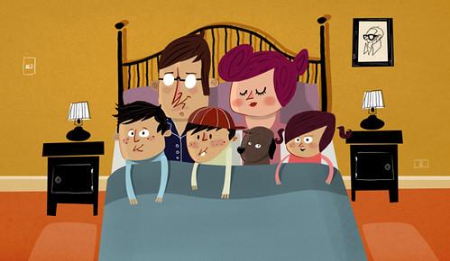 Dibujo de una pareja con sus tres hijos y el perro  en la misma cama
