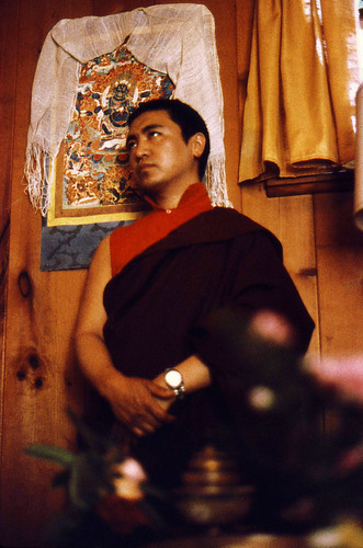 Lama Pema Wangyal Rinpoche, Nyingmapa lama, with Shri Mahakala thangka, Seattle, Washington, USA, in 1976 by Wonderlane